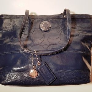 Coach Signature Stitch Navy Patent Leather Tote